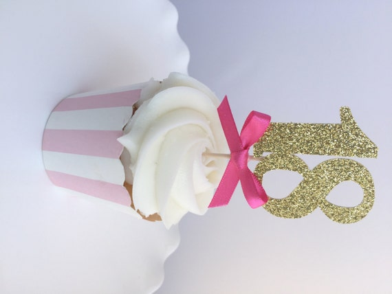 12 gold glitter number cupcake topper with hot pink bow 18th for 18th cake decoration