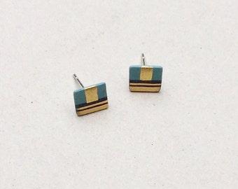 SALE / Porcelain stud earrings- black, turquoies, 24k gold luster- geometric post earrings, minimalist studs, gift for her, porcelain studs
