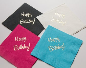 Happy Birthday Gold Foil Napkins - Set of 20 - READY TO SHIP