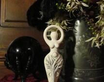 Goddess Spiral Statue: Stone, talisman, goddess, sacred, nature, altar, apothecary, ritual, meditation, spiritual, statue, spiral, white