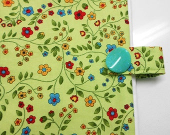 Spring green red yellow blue floral paperback book cover, mass market, protective padded, fabric cloth accessory, modern flowers, novel