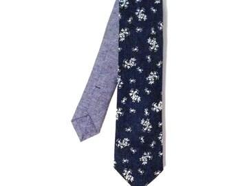 Denim Floral Necktie, Indigo Blue Tie