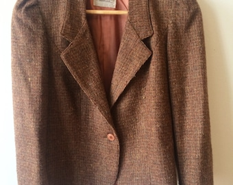 Mauve Taupe Blazer and Skirt Suit Womens Size Medium 9