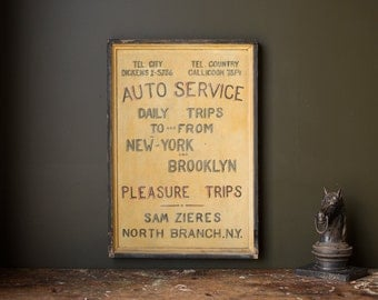 Vintage Sign / 1920's / Original Hand Painted New York City Pleasure Trips Auto Service Tin Sign / Brooklyn New York / Vintage Advertising