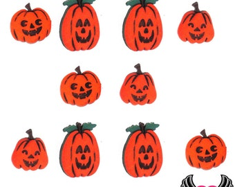 Jesse James Buttons 10pc JACK-o-LANTERNS Pumpkin Halloween Buttons OR Turn them Into Flatback Decoden Cabochons