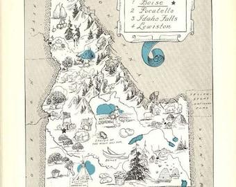 Idaho Map Art / ID State Wall Decor / 1930s Vintage Map Print / Quinn Map Wall Art / Old Map Illustration / Travel Wall Map / Idaho Decor
