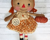 Best Pumpkin in the Patch Annie - Primitive Raggedy Ann Doll (HAFAIR)