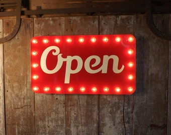 Open sign marquee lights store window business lighted industrial wall decor vintage retro edison bulbs