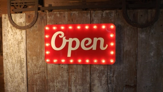 open sign marquee lights store window business lighted industrial wall. Black Bedroom Furniture Sets. Home Design Ideas