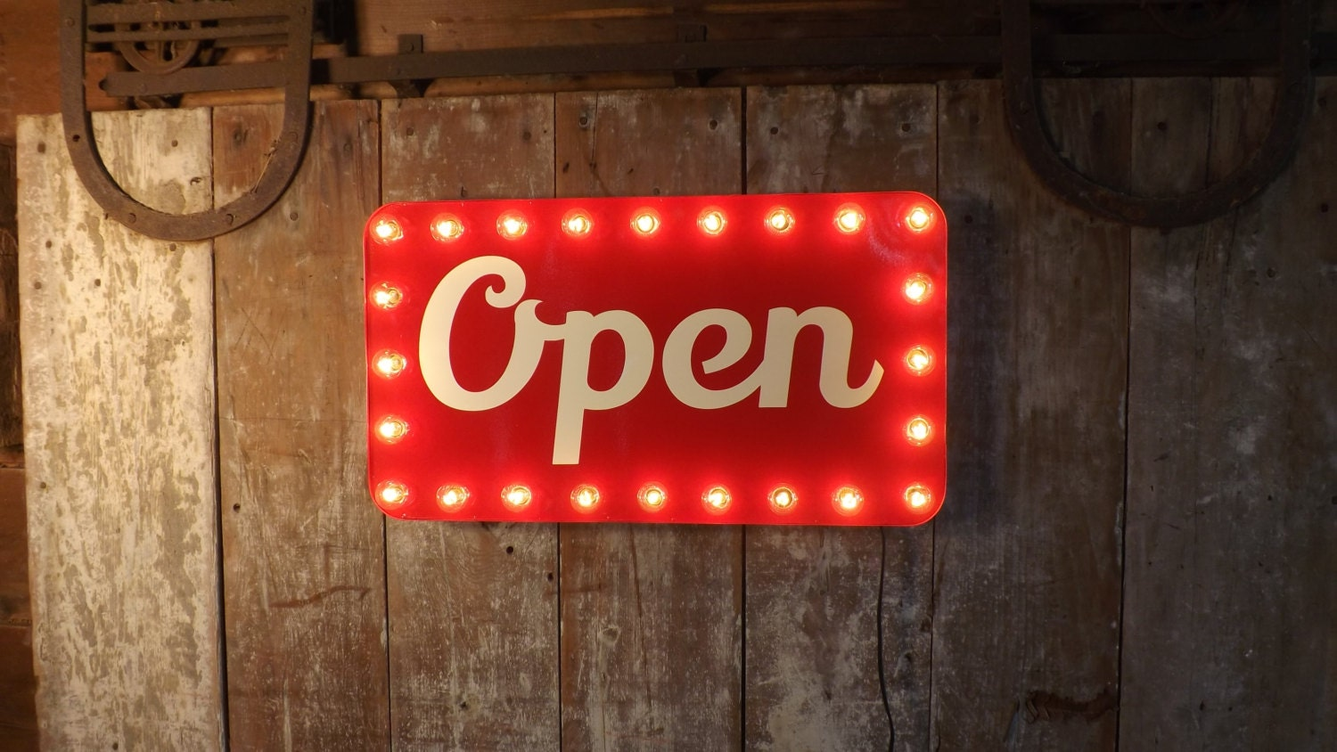 open sign marquee lights store window business lighted. Black Bedroom Furniture Sets. Home Design Ideas