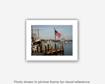4th of July Cards, Menemsha Harbor Martha's Vineyard Photography, Art Prints, Photos, Photographs, American Flag Art, Blank Photo Greeting C