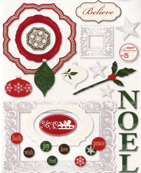 CHRISTMAS NOEL Chipboard /  Scrapbook Card Supplies / CIJ / Holiday Christmas / Little Yellow Bicycle / Inspiration Junk Journal Altered Art