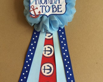 Blue Anchors Nautical Baby Shower Pin Mommy to be pin Flower Ribbon Pin Corsage  Mommy Mom New Mom baby shower pin
