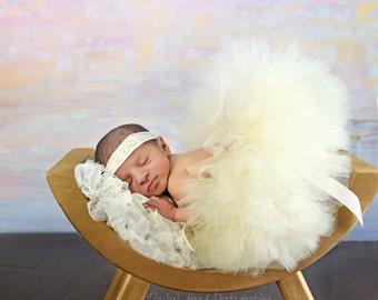 IVORY TUTU and Tieback, Newborn Tutu, Newborn Photo Prop, Baby Tutu, Newborn Tieback, Photo Prop, Tutus for Babies, Flower Girl, Ivory Tutu