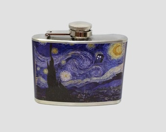 Stainless Steel Hip Flask  - Dr Who Starry Night -  Van Gogh Starry Night Painting Police Booth -4oz 6oz 2oz 1oz