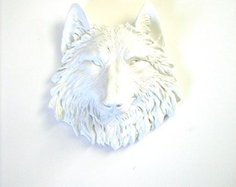 Small Faux Taxidermy Wolf Head wall hanging wall mount home decor in WHITE:  small animal head office decor kids room decor nursery