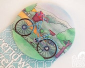Bike Fabric Badge, Large Badge, Pin Badge, Fabric Covered Button, Mothers Day Gift