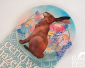 Hare Fabric Badge, Large Badge, Pin Badge, Fabric Covered Button, Mothers Day Gift