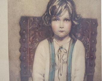 Vintage Art Print The Artist's Son by Arthur Garratt in Original Frame