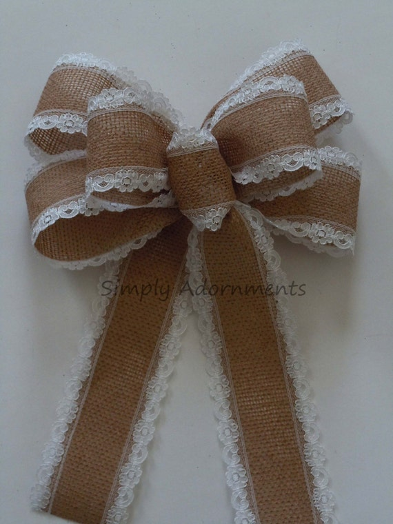 Vintage Lace Trim Burlap Wedding Bow Southern Wedding Bow Burlap Lace Pew Bow Rustic Burlap Lace Bow Wedding Pew Bow Burlap Gift Wrap Bow