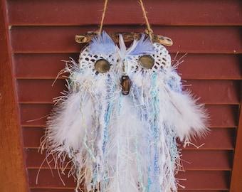Doily Owl Baby Blue
