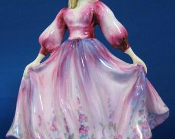 English Bone China Figurine Dolores Handpainted Thorley England 1940s Pink Fashion Figure