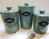 Robin's Egg Blue Canister Set with Chalkboard emblem
