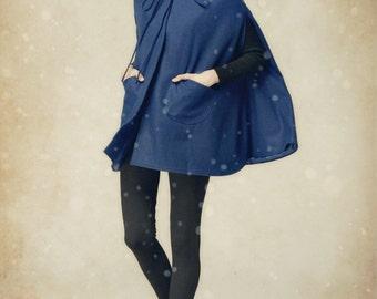 Blue Wool Cape, Hooded Cashmere Jacket, Oversized Hood Coat, Winter Coat, Women Coat