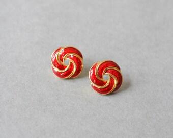 Vintage heart earrings rhinestones Valentine's day fashion ruby poppy red enamel jewelry costume gold ear clip ons