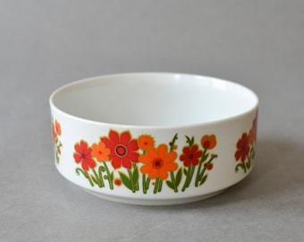 Vintage West German dish salad bowl fruit bowl flowers orange Mid Century Modern 60s