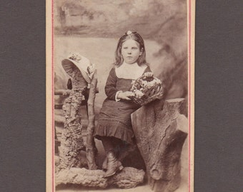 CDV of a Young Girl with a Basket of Flowers