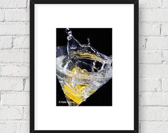 Food Art, Martini Glass Lemon Drop Splash: 5x7 Matted Photo