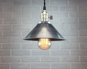 Pendant Lamp with Metal Shade - Industrial Pendant Light - Ceiling Light - Industrial Lighting - Edison Bulb Hanging Light