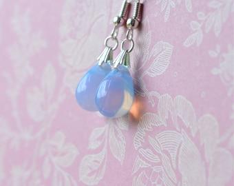 Blue Opal Earrings, Pale Blue Dangle Earrings, Teardrop Earrings, Opalescent Glass Jewelry, Small Drop Earrings, Gifts under 10, For Her