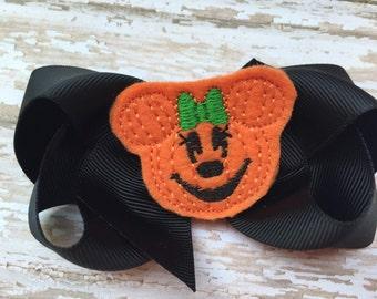 Halloween bow - pumpkin bow, halloween hair bow, pumpkin minnie bow, 4 inch bows, girls hair bows, toddler bows, boutique bows