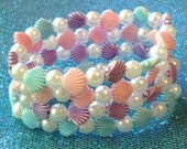 Kawaii Mermaid - Pastel Shell and Pearl Stretch Bracelets - Set of 4