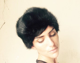60s SAKS FIFTH AVE fur hat/ black sable mink// perfect condition