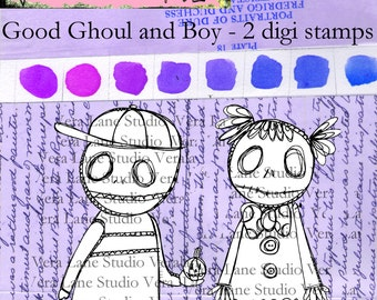 Good Ghoul and Boy - Whimsical ghoulish duo digi stamp set available for instant download.