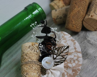 Winter Wine Boutonniere // Wine Cork + Grapevine Wedding Boutonniere //  Rustic Wine Cork Wedding