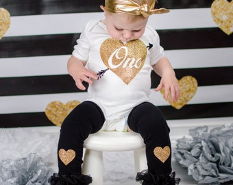 First Birthday Outfit Girl Black Gold Glitter One With Heart Arrow Knotted Gold Headband Gold Heart Leg Warmers Gold First Birthday Outfit