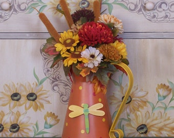 Funky Fun Fall Floral Arrangement in Fun Tin Container
