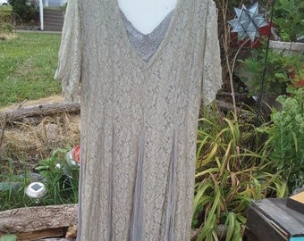 Vintage lace 80's Together! Boho Bohmenian Grey lace and cotton Dress size 16 free shipping