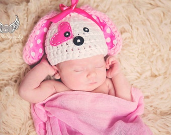 Puppy love Hat Newborn girl,baby girl, baby girl photo prop-White hot pink and light Pink - Made to Order