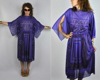 Sheer Dress Geometric Dress Purple Vintage Dress with Open Flutter Sleeves Bell Angel Sleeves Boho Hippie Floral size S - M