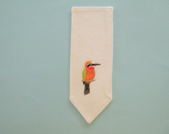 Textile art hand embroidered cotton bookmark, bee eater bird page saver