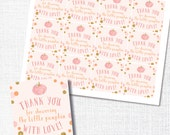 a little pumpkin is on her way - pink pumpkin square favor tag - thank you tag - favor tag -  fall baby girl shower