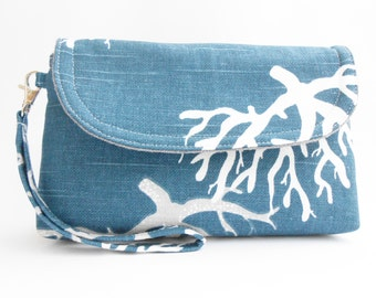 Navy White Grey  Wristlet Clutch