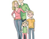 Custom Family Portrait - Printable Digital Cartoon Portrait