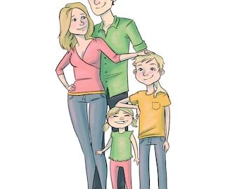 Custom Family Portrait - Printable Digital Cartoon Illustration - Couples families and pets