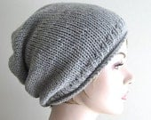 Digital PDF Knitting Pattern Instant Download Grey Hipster Slouchy Beanie Hat Mens Womens Boys Girls